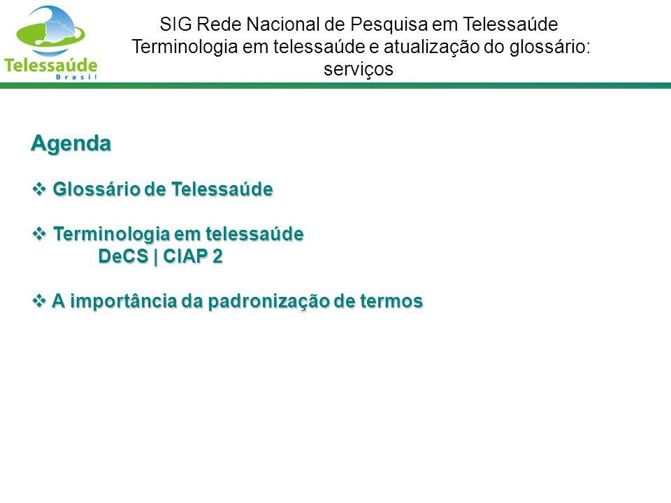 Agenda Glossário de Telessaúde Glossário de Telessaúde Terminologia em telessaúde DeCS | CIAP 2 Terminologia em telessaúde DeCS | CIAP 2 A importância