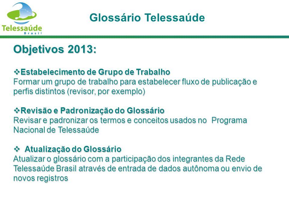 Objetivos 2013: Estabelecimento de Grupo de Trabalho Estabelecimento de Grupo de Trabalho Formar um grupo de trabalho para estabelecer fluxo de public