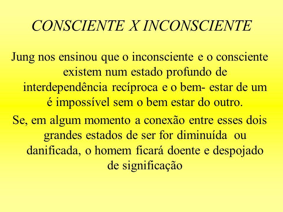 CONSCIENTE X INCONSCIENTE Jung nos ensinou que o inconsciente e o consciente existem num estado profundo de interdependência recíproca e o bem- estar
