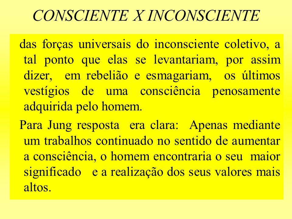 CONSCIENTE X INCONSCIENTE das forças universais do inconsciente coletivo, a tal ponto que elas se levantariam, por assim dizer, em rebelião e esmagari