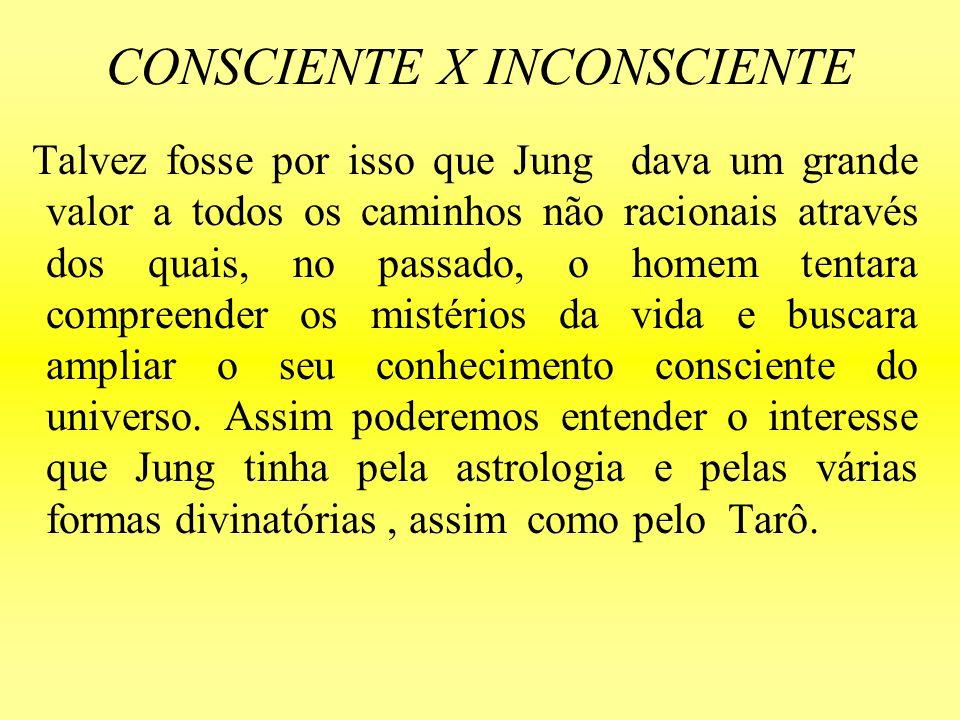 CONSCIENTE X INCONSCIENTE Talvez fosse por isso que Jung dava um grande valor a todos os caminhos não racionais através dos quais, no passado, o homem