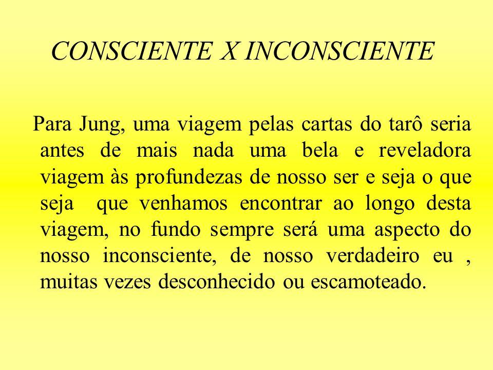 CONSCIENTE X INCONSCIENTE Para Jung, uma viagem pelas cartas do tarô seria antes de mais nada uma bela e reveladora viagem às profundezas de nosso ser