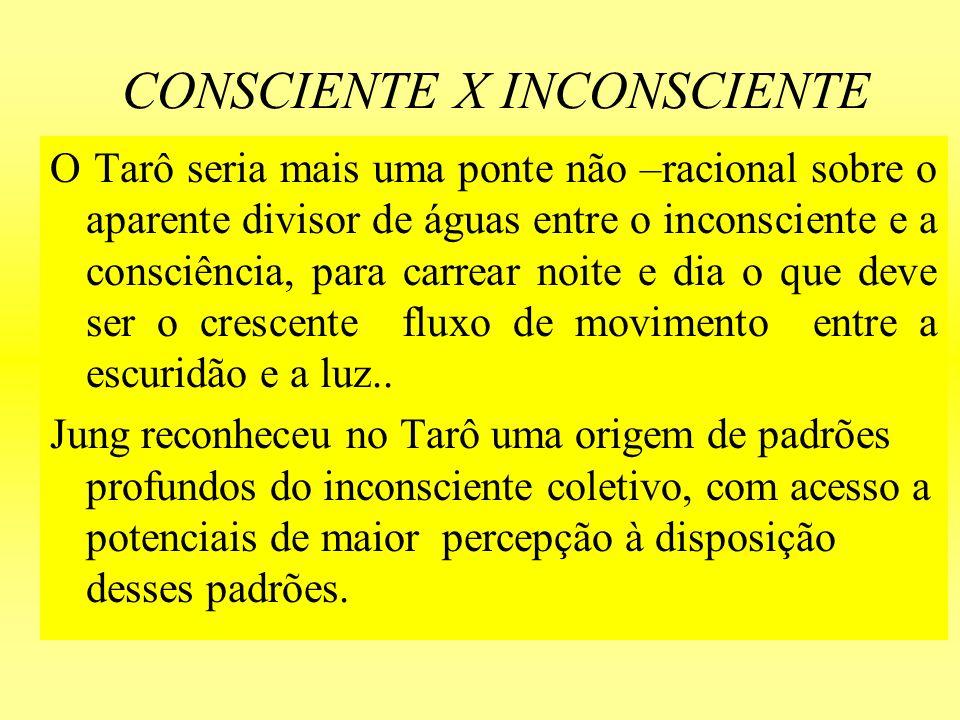 CONSCIENTE X INCONSCIENTE O Tarô seria mais uma ponte não –racional sobre o aparente divisor de águas entre o inconsciente e a consciência, para carre