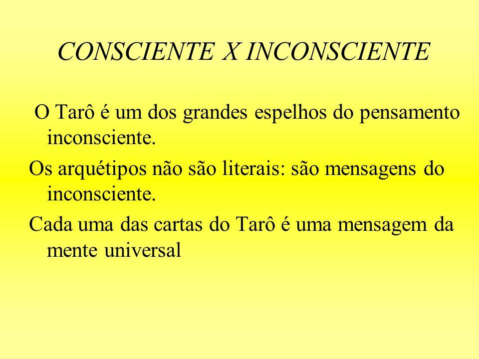 CONSCIENTE X INCONSCIENTE O Tarô é um dos grandes espelhos do pensamento inconsciente. Os arquétipos não são literais: são mensagens do inconsciente.
