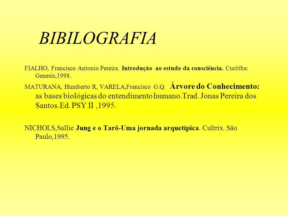 BIBILOGRAFIA FIALHO, Francisco Antonio Pereira. Introdução ao estudo da consciência. Curitiba: Genesis,1998. MATURANA, Humberto R, VARELA,Francisco G.