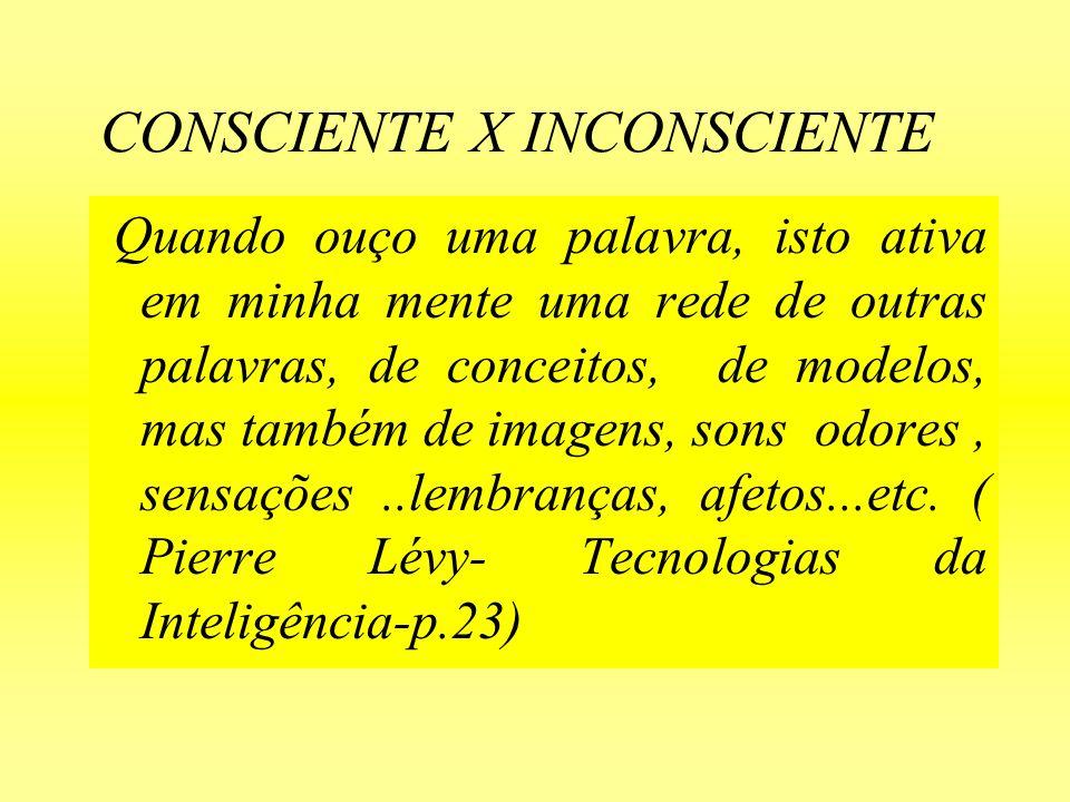 CONSCIENTE X INCONSCIENTE Jung, ainda, afirmou que a Consciência é o sonho permanente e mais profundo do inconsciente e que o inconsciente lutou incessantemente para lograr uma consciência cada vez maior, uma consciência que ele preferiu chamar de percepção a qual incluia toda sorte de formas não racionais de conhecimento do inconsciente.