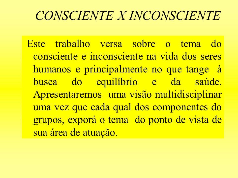 CONSCIENTE X INCONSCIENTE Este trabalho versa sobre o tema do consciente e inconsciente na vida dos seres humanos e principalmente no que tange à busc