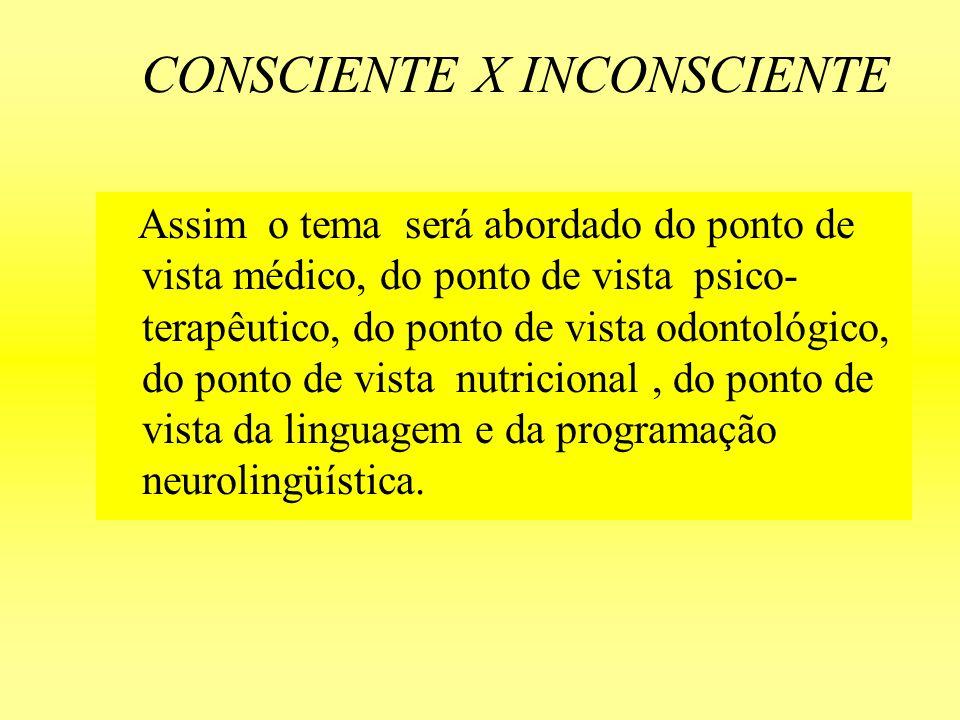CONSCIENTE X INCONSCIENTE É através das palavras e dos símbolos que chegamos às profundezas do inconsciente são eles que nos sensibilizam pela sua magia e mistério.