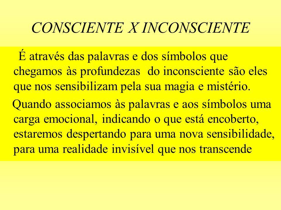 CONSCIENTE X INCONSCIENTE É através das palavras e dos símbolos que chegamos às profundezas do inconsciente são eles que nos sensibilizam pela sua mag