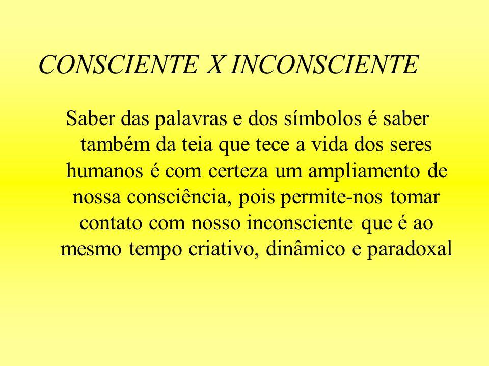 CONSCIENTE X INCONSCIENTE Saber das palavras e dos símbolos é saber também da teia que tece a vida dos seres humanos é com certeza um ampliamento de n
