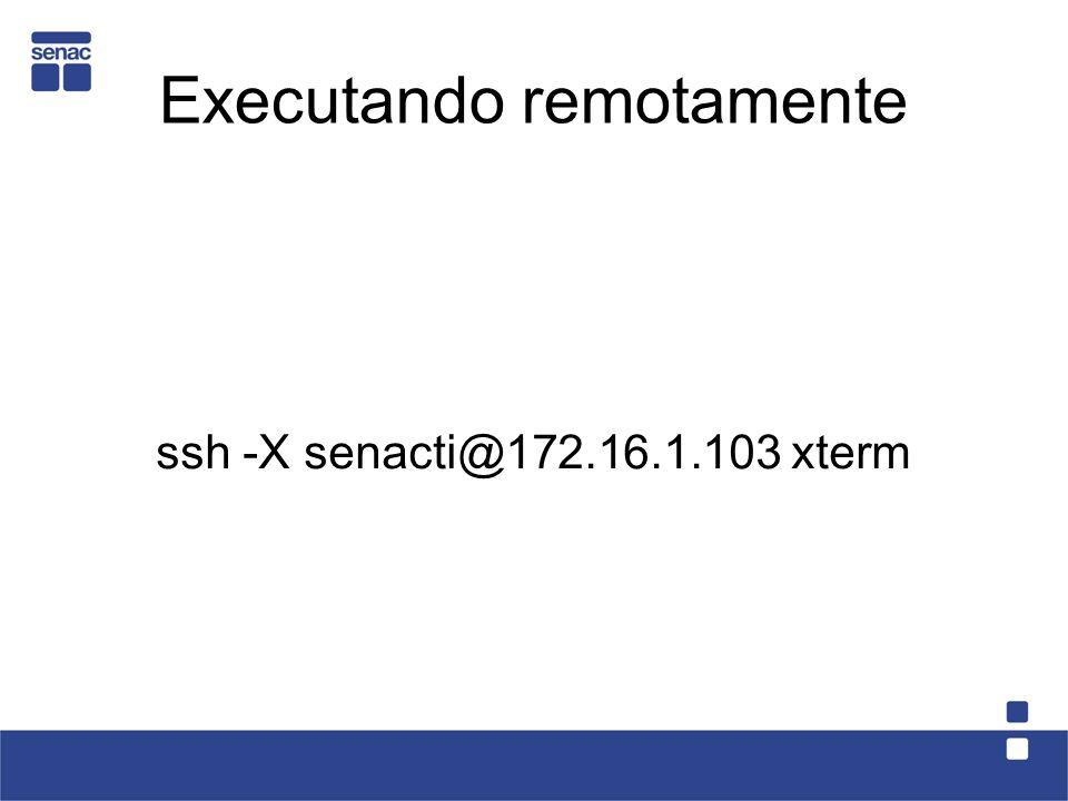 Executando remotamente ssh -X senacti@172.16.1.103 xterm