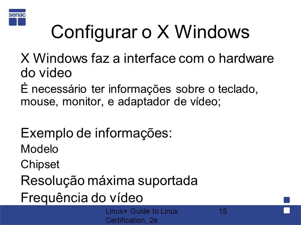 Linux+ Guide to Linux Certification, 2e 15 Configurar o X Windows X Windows faz a interface com o hardware do video É necessário ter informações sobre
