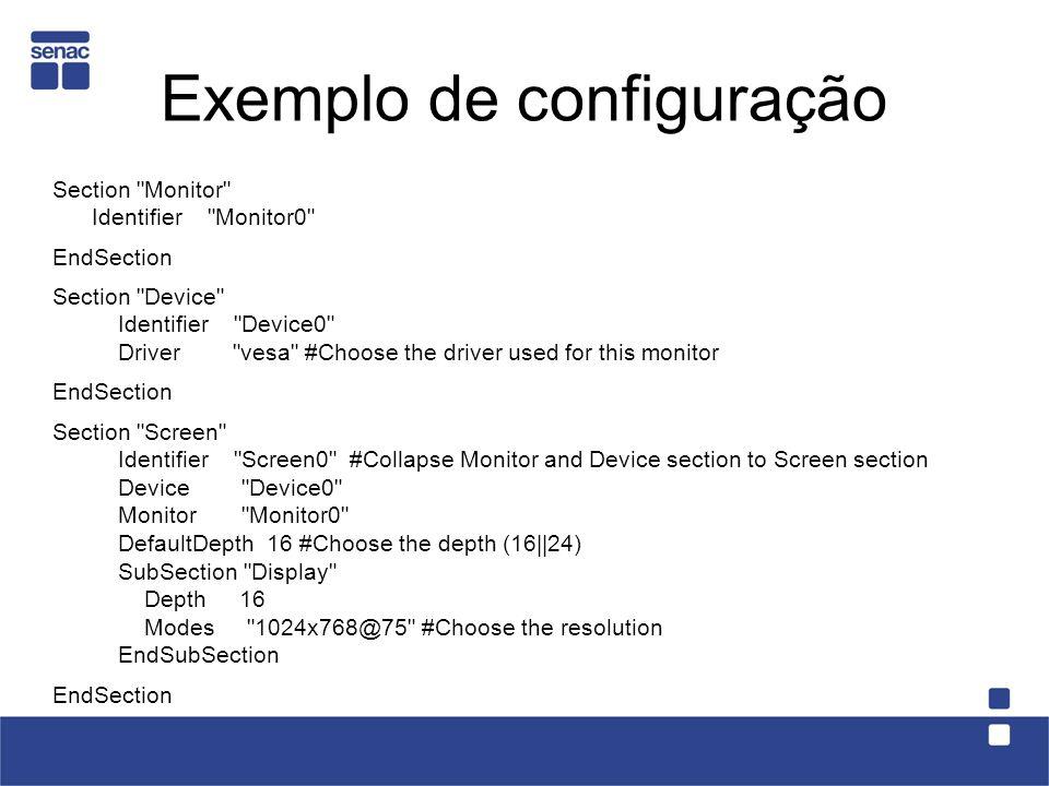 Exemplo de configuração Section