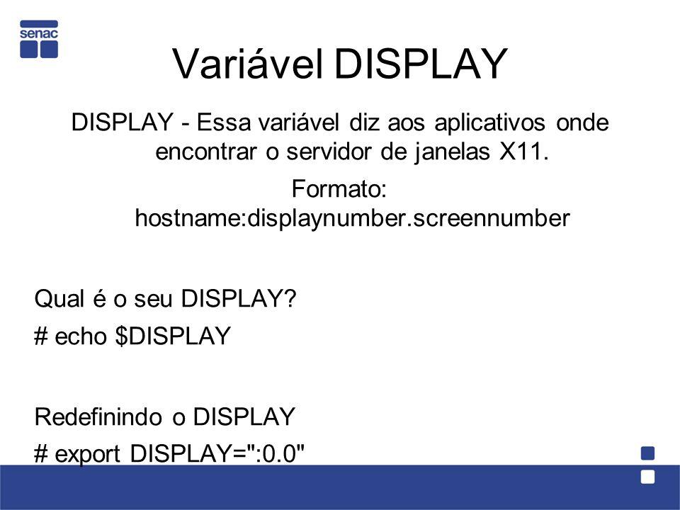 Variável DISPLAY DISPLAY - Essa variável diz aos aplicativos onde encontrar o servidor de janelas X11. Formato: hostname:displaynumber.screennumber Qu