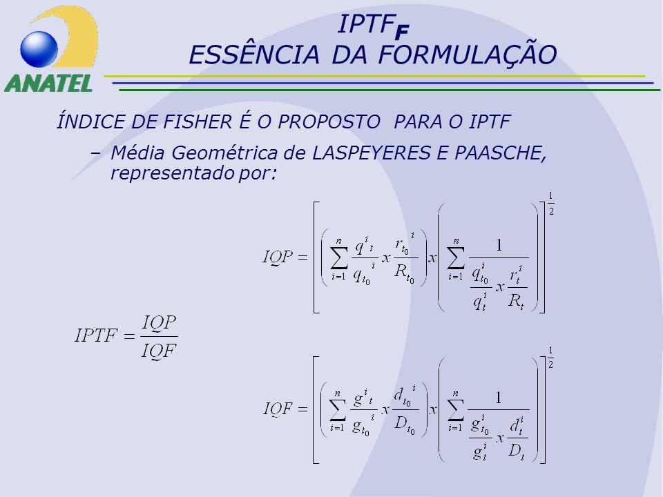 IPTF F ESSÊNCIA DA FORMULAÇÃO ÍNDICE DE FISHER É O PROPOSTO PARA O IPTF –Média Geométrica de LASPEYERES E PAASCHE, representado por: