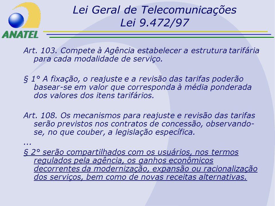 Lei Geral de Telecomunicações Lei 9.472/97 Art. 103. Compete à Agência estabelecer a estrutura tarifária para cada modalidade de serviço. § 1° A fixaç