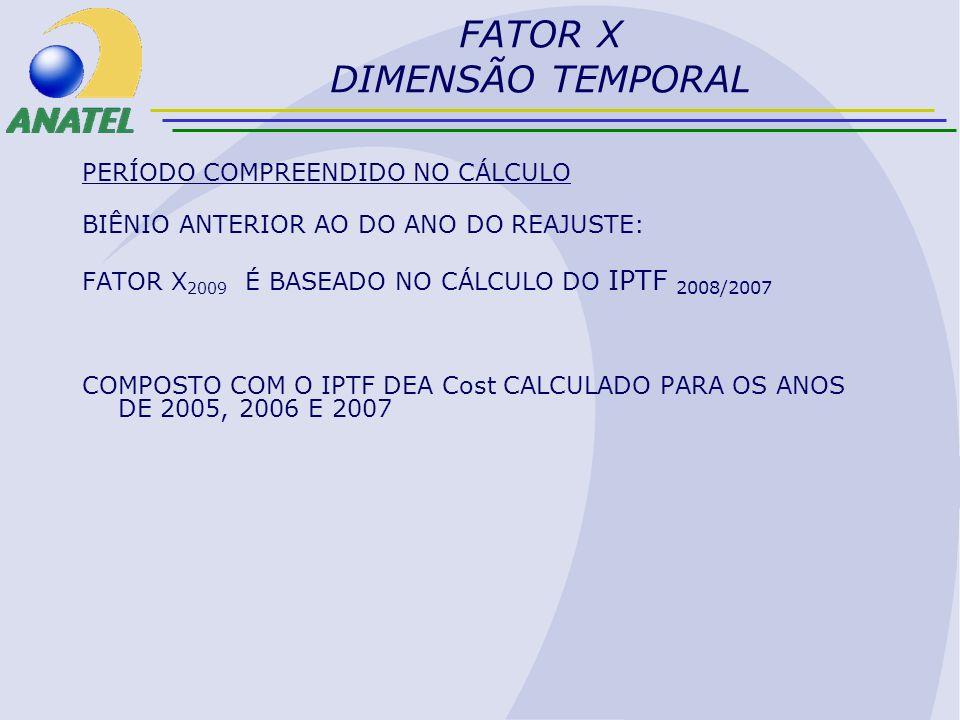 FATOR X DIMENSÃO TEMPORAL PERÍODO COMPREENDIDO NO CÁLCULO BIÊNIO ANTERIOR AO DO ANO DO REAJUSTE: FATOR X 2009 É BASEADO NO CÁLCULO DO IPTF 2008/2007 C