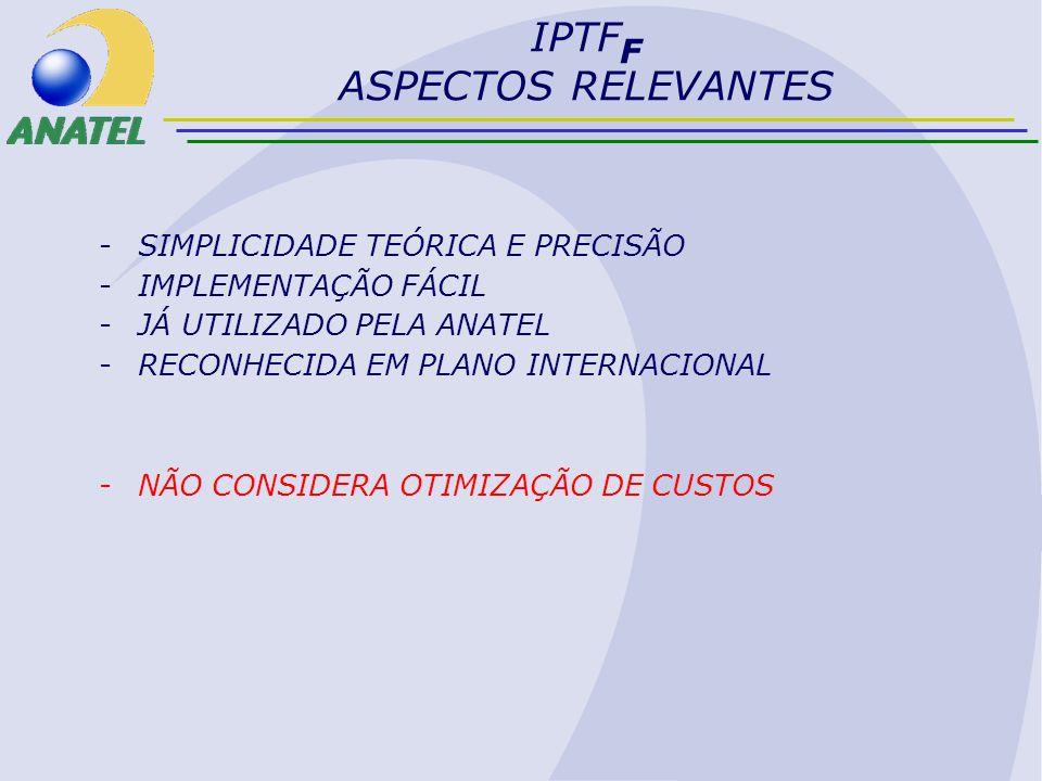 IPTF F ASPECTOS RELEVANTES -SIMPLICIDADE TEÓRICA E PRECISÃO -IMPLEMENTAÇÃO FÁCIL -JÁ UTILIZADO PELA ANATEL -RECONHECIDA EM PLANO INTERNACIONAL -NÃO CO