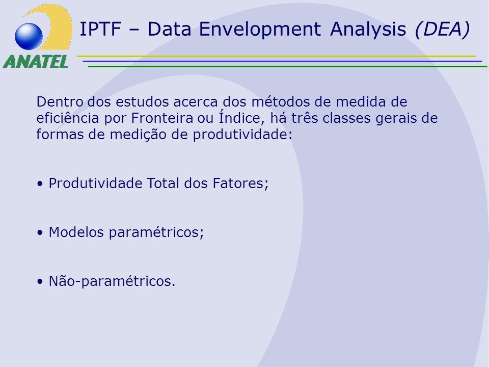 IPTF – Data Envelopment Analysis (DEA) Dentro dos estudos acerca dos métodos de medida de eficiência por Fronteira ou Índice, há três classes gerais d
