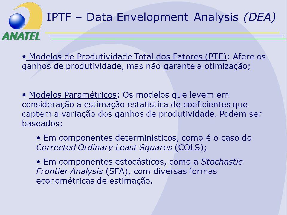 IPTF – Data Envelopment Analysis (DEA) Modelos de Produtividade Total dos Fatores (PTF): Afere os ganhos de produtividade, mas não garante a otimizaçã
