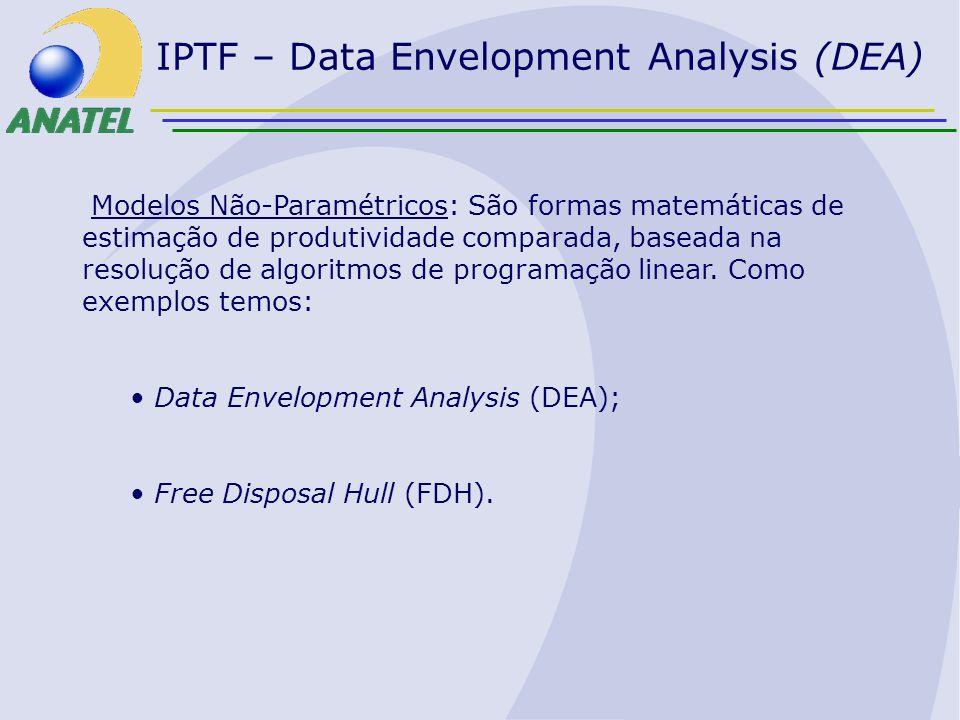 IPTF – Data Envelopment Analysis (DEA) Modelos Não-Paramétricos: São formas matemáticas de estimação de produtividade comparada, baseada na resolução