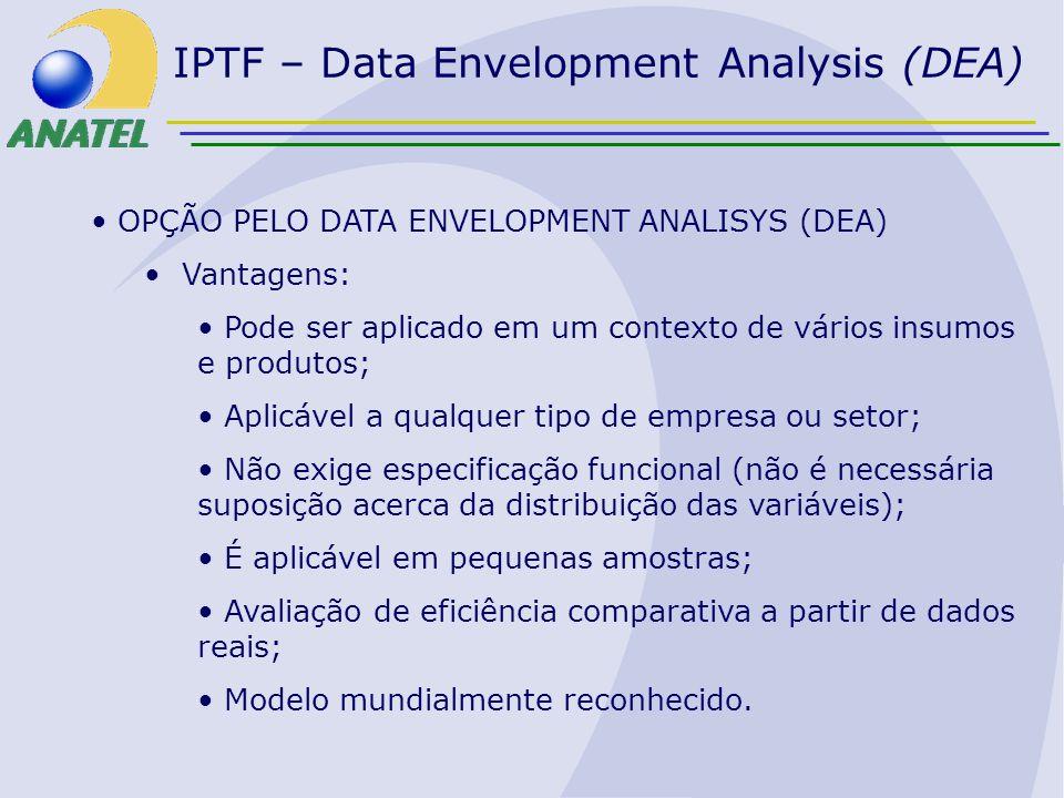 IPTF – Data Envelopment Analysis (DEA) OPÇÃO PELO DATA ENVELOPMENT ANALISYS (DEA) Vantagens: Pode ser aplicado em um contexto de vários insumos e prod