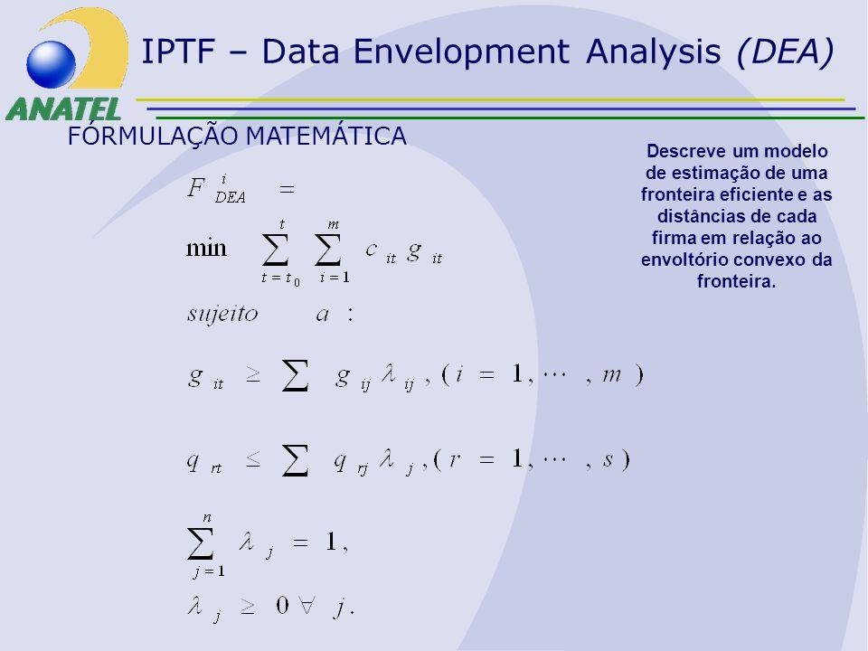 FÓRMULAÇÃO MATEMÁTICA Descreve um modelo de estimação de uma fronteira eficiente e as distâncias de cada firma em relação ao envoltório convexo da fro
