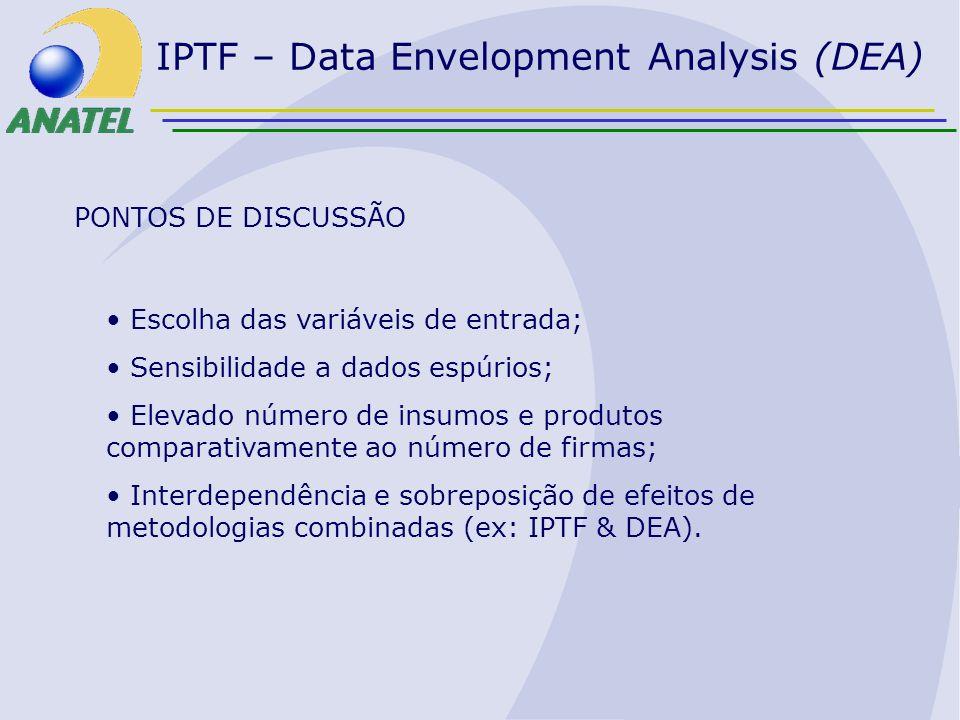 PONTOS DE DISCUSSÃO Escolha das variáveis de entrada; Sensibilidade a dados espúrios; Elevado número de insumos e produtos comparativamente ao número