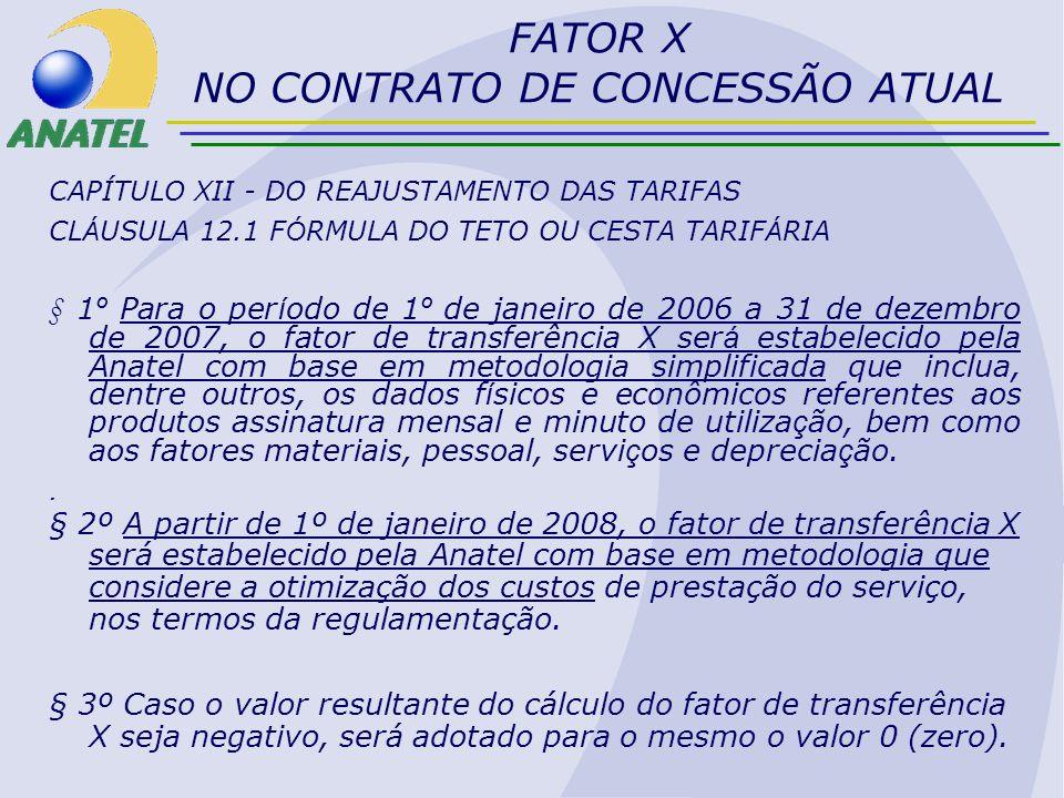 FORMULAÇÃO DO FATOR X RESUMO O FATOR X REDUZ TARIFA (1-X) –QUANTO MAIOR O FATOR X MENOR O VALOR DAS TARIFAS REAJUSTADAS A REDUÇÃO DE TARIFA IMPLICA: –TRANSFERÊNCIA PARCIAL DE GANHOS ECONÔMICOS DA CONCESSIONÁRIA –INCENTIVO A BUSCA DE EFICIÊNCIA (REDUÇÃO DE DESPESAS, MELHORIA DA OFERTA...) A TRANSFERÊNCIA PARCIAL SIGNIFICA O COMPARTILHAMENTO DOS GANHOS ECONÔMICOS, NOS TERMOS DA LEI –GANHOS DE MODERNIZAÇÃO, EXPANSÃO, OU RACIONALIZAÇÃO