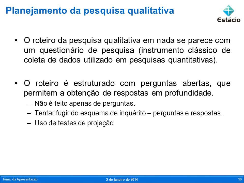 O roteiro da pesquisa qualitativa em nada se parece com um questionário de pesquisa (instrumento clássico de coleta de dados utilizado em pesquisas qu