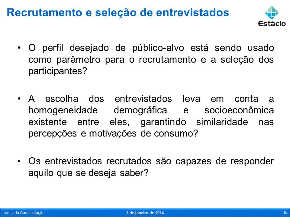 O perfil desejado de público-alvo está sendo usado como parâmetro para o recrutamento e a seleção dos participantes? A escolha dos entrevistados leva