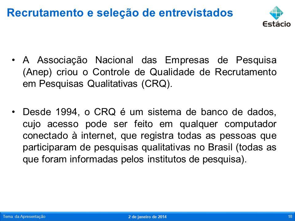 A Associação Nacional das Empresas de Pesquisa (Anep) criou o Controle de Qualidade de Recrutamento em Pesquisas Qualitativas (CRQ). Desde 1994, o CRQ