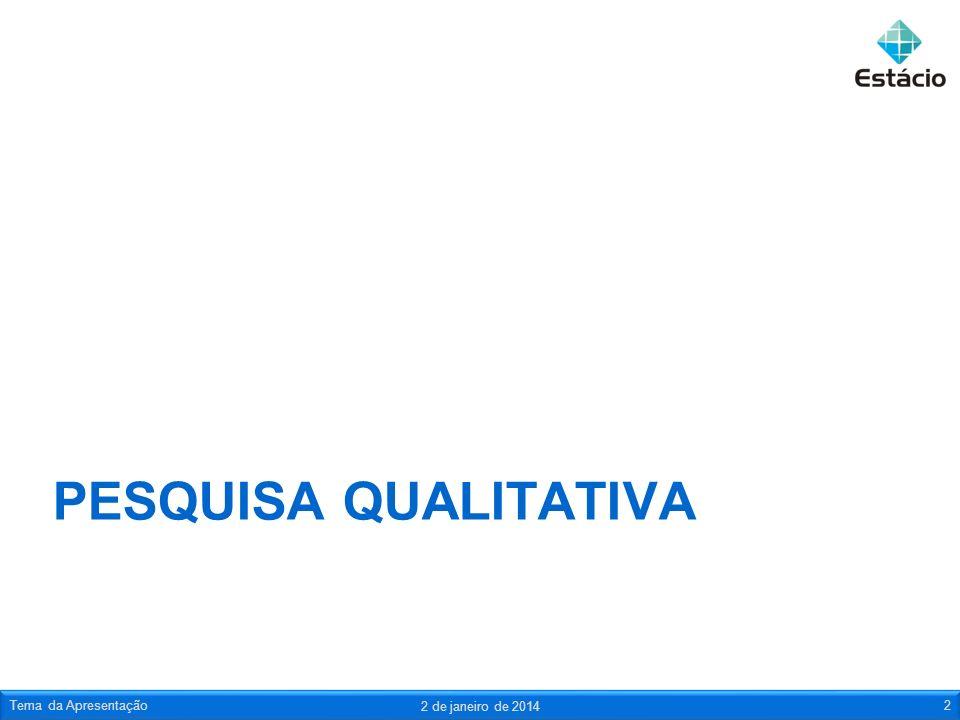 PESQUISA QUALITATIVA 2 de janeiro de 2014 Tema da Apresentação2