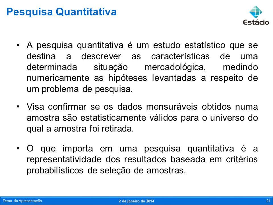 A pesquisa quantitativa é um estudo estatístico que se destina a descrever as características de uma determinada situação mercadológica, medindo numer