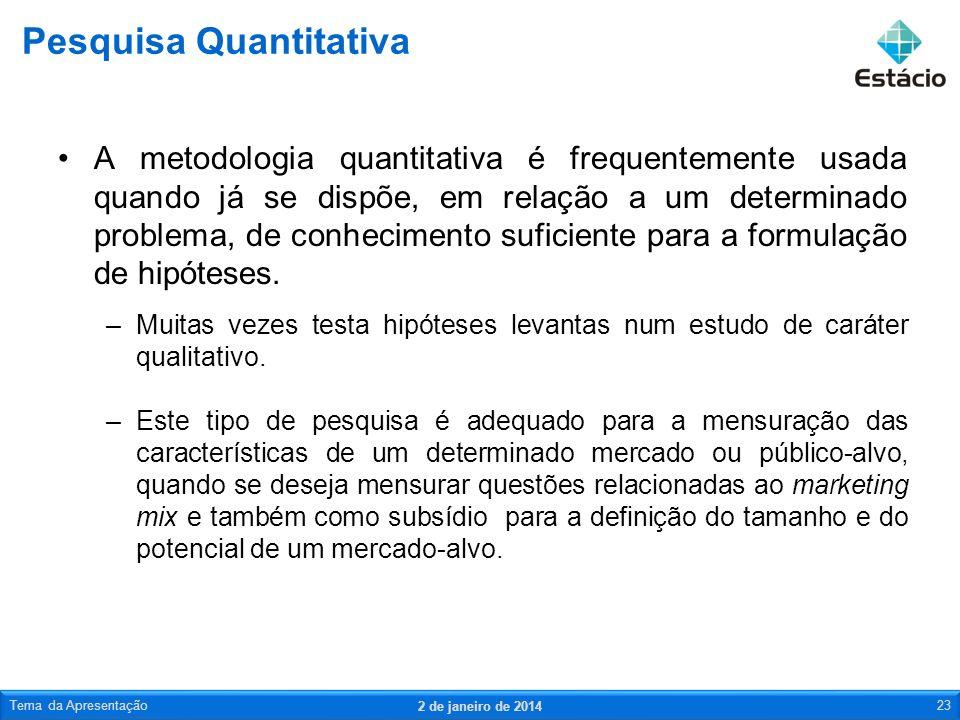 A metodologia quantitativa é frequentemente usada quando já se dispõe, em relação a um determinado problema, de conhecimento suficiente para a formula