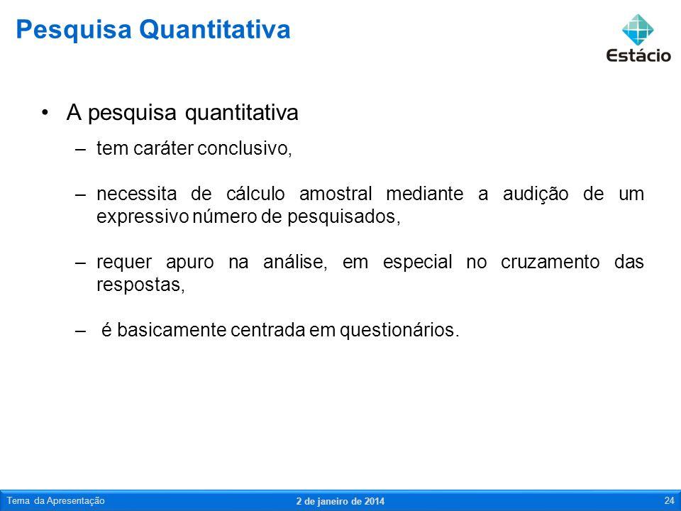 A pesquisa quantitativa –tem caráter conclusivo, –necessita de cálculo amostral mediante a audição de um expressivo número de pesquisados, –requer apu