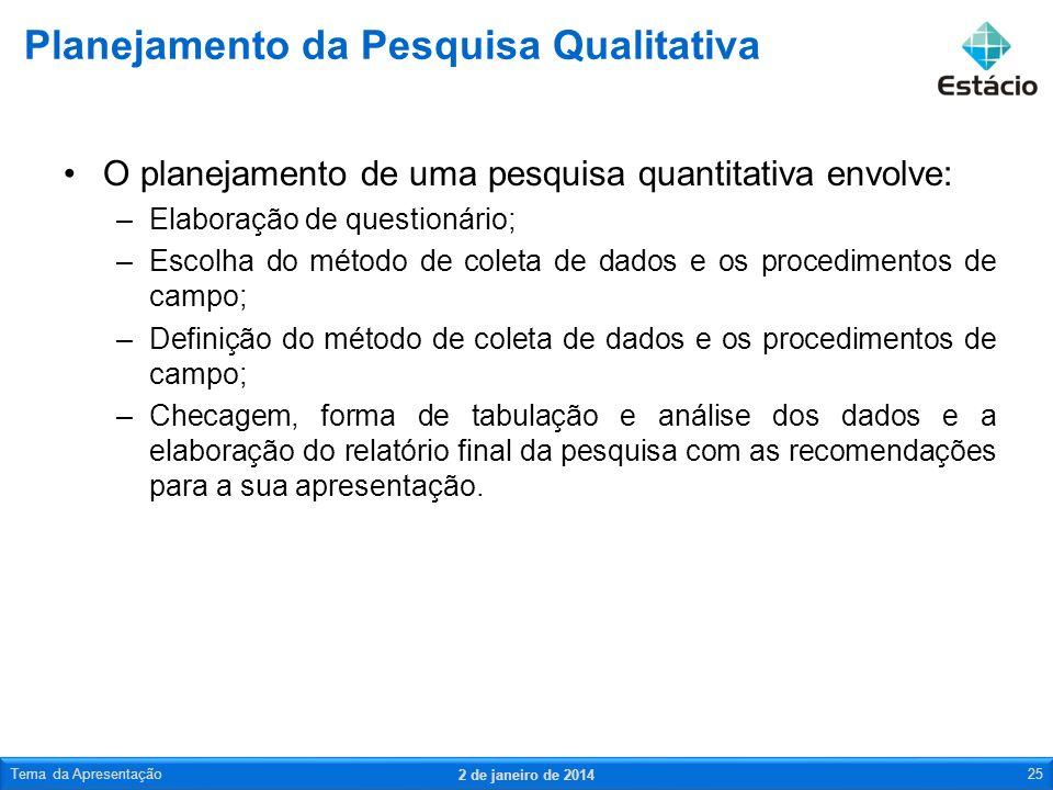 O planejamento de uma pesquisa quantitativa envolve: –Elaboração de questionário; –Escolha do método de coleta de dados e os procedimentos de campo; –