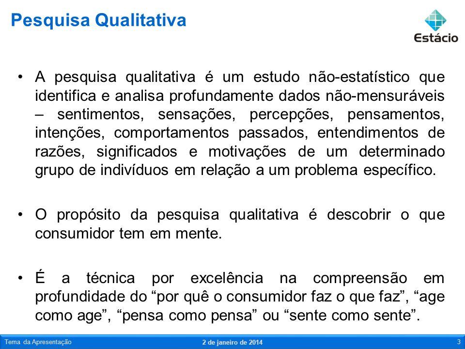 A pesquisa qualitativa é um estudo não-estatístico que identifica e analisa profundamente dados não-mensuráveis – sentimentos, sensações, percepções,
