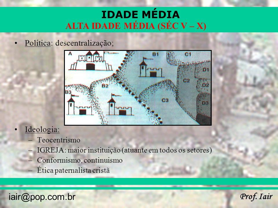 IDADE MÉDIA Prof. Iair iair@pop.com.br ALTA IDADE MÉDIA (SÉC V – X) Política: descentralização; Ideologia: –Teocentrismo –IGREJA: maior instituição (a