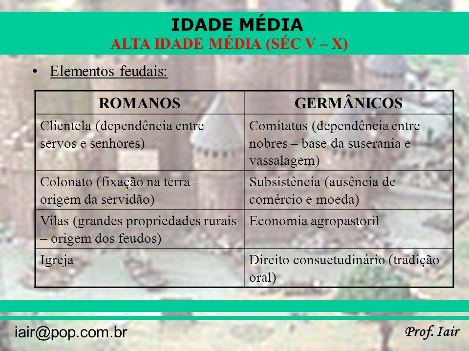 IDADE MÉDIA Prof. Iair iair@pop.com.br ALTA IDADE MÉDIA (SÉC V – X) Elementos feudais: ROMANOSGERMÂNICOS Clientela (dependência entre servos e senhore