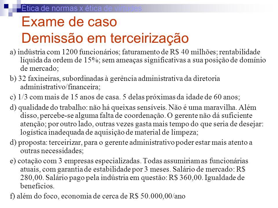 Ética de normas x ética de virtudes Exame de caso Demissão em terceirização a) indústria com 1200 funcionários; faturamento de R$ 40 milhões; rentabil