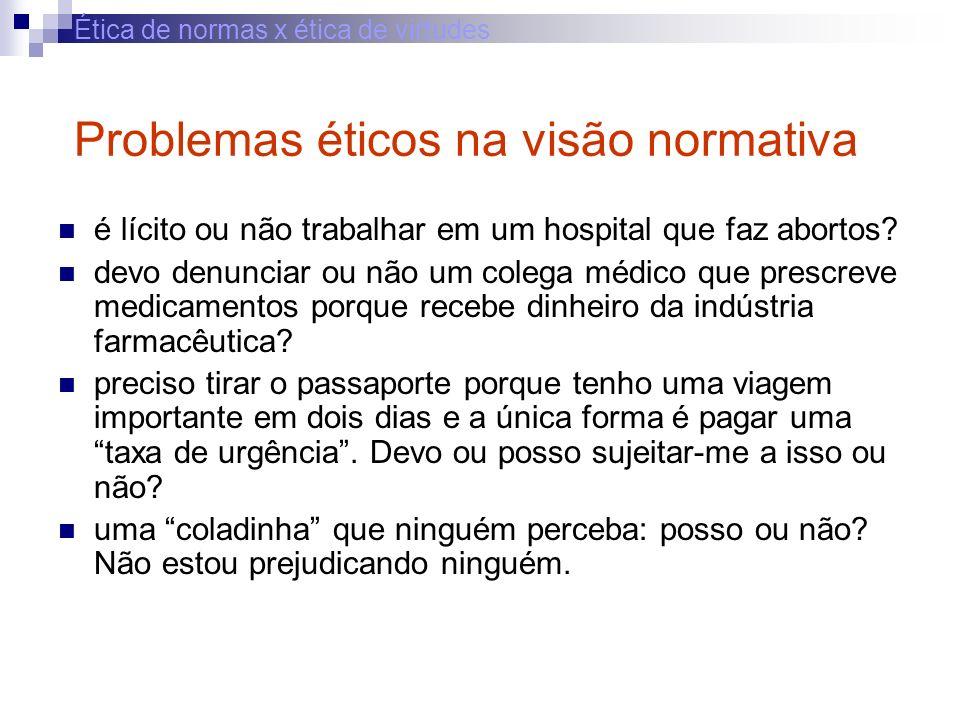 Ética de normas x ética de virtudes Problemas éticos na visão normativa é lícito ou não trabalhar em um hospital que faz abortos? devo denunciar ou nã