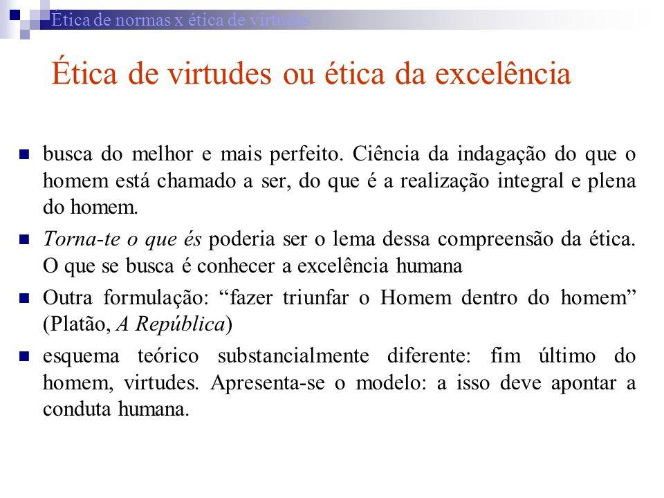 Ética de normas x ética de virtudes Ética de virtudes ou ética da excelência busca do melhor e mais perfeito. Ciência da indagação do que o homem está