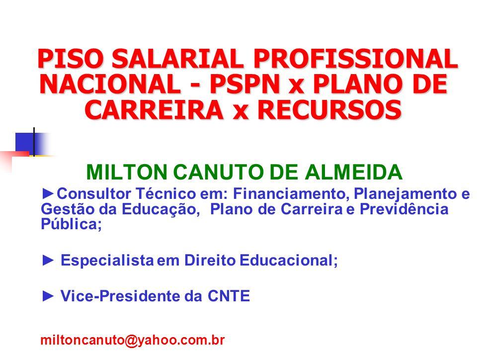 Marta Vanelli - CNTE1 PISO SALARIAL PROFISSIONAL NACIONAL - PSPN x PLANO DE CARREIRA x RECURSOS PISO SALARIAL PROFISSIONAL NACIONAL - PSPN x PLANO DE