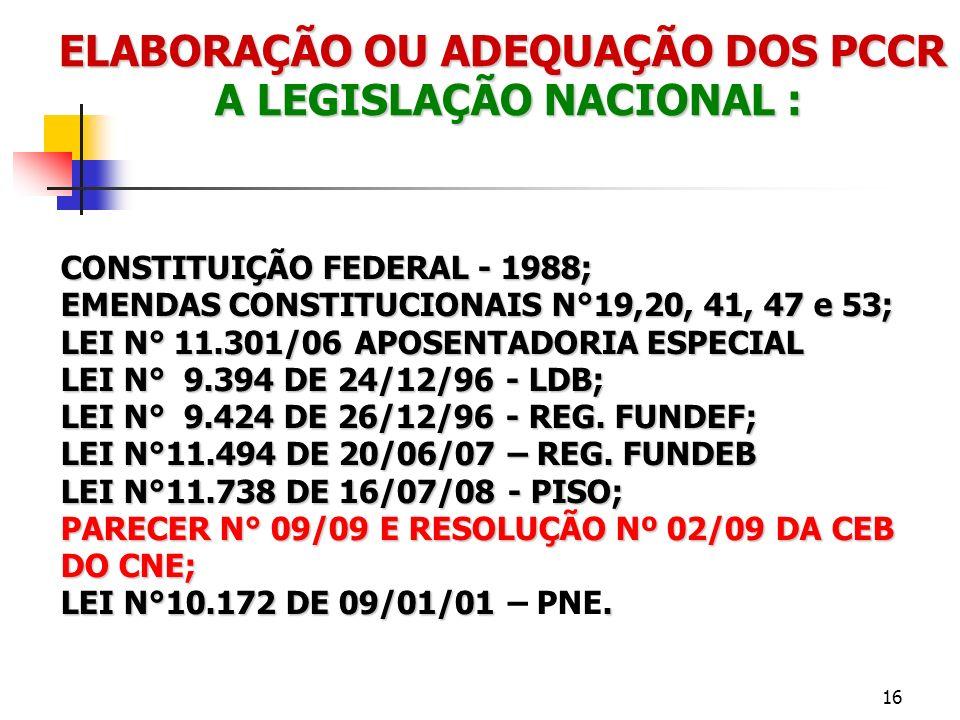 ELABORAÇÃO OU ADEQUAÇÃO DOS PCCR A LEGISLAÇÃO NACIONAL : CONSTITUIÇÃO FEDERAL - 1988; EMENDAS CONSTITUCIONAIS N°19,20, 41, 47 e 53; LEI N° 11.301/06 A