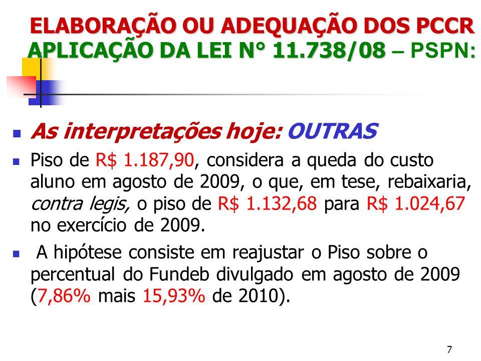 ELABORAÇÃO OU ADEQUAÇÃO DOS PCCR APLICAÇÃO DA LEI N° 11.738/08 : ELABORAÇÃO OU ADEQUAÇÃO DOS PCCR APLICAÇÃO DA LEI N° 11.738/08 – PSPN: As interpretações hoje: OUTRAS Piso de R$ 1.101,39, considerando que a correção só se daria em 2010, logo aplica-se o o crescimento do custo aluno mínimo para 2010, que foi de 15,93%.