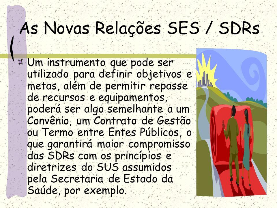 As Novas Relações SES / SDRs Um instrumento que pode ser utilizado para definir objetivos e metas, além de permitir repasse de recursos e equipamentos