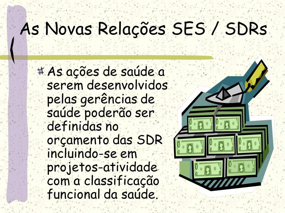 As Novas Relações SES / SDRs As ações de saúde a serem desenvolvidos pelas gerências de saúde poderão ser definidas no orçamento das SDR incluindo-se