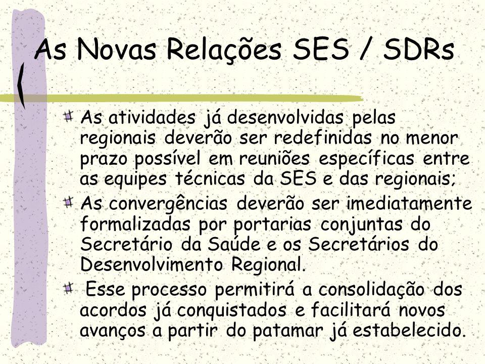 As Novas Relações SES / SDRs As atividades já desenvolvidas pelas regionais deverão ser redefinidas no menor prazo possível em reuniões específicas en