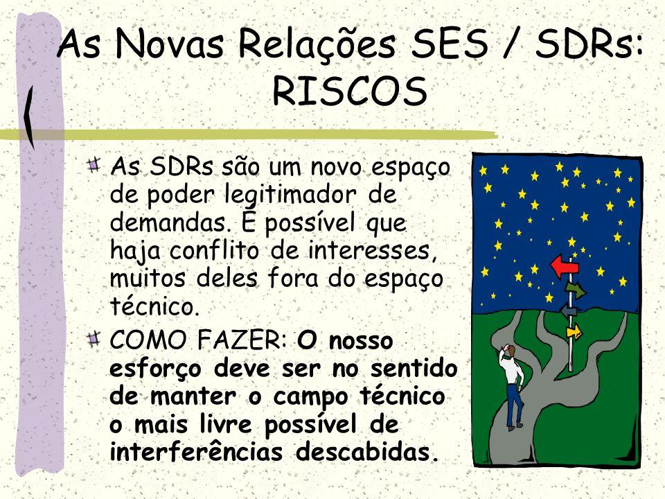 As Novas Relações SES / SDRs: RISCOS As SDRs são um novo espaço de poder legitimador de demandas. É possível que haja conflito de interesses, muitos d